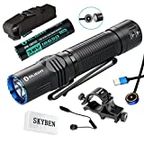 Olight M2R Warrior 1500 Lumen Cree XHP35 HD LED Magnetic Rechargeable Dual Switches Tactical Flashlight,with 18650 Battery,Remote Switch,Weapon Mount and SKYBEN Accessory(Cool White)(Hunting Bundle)