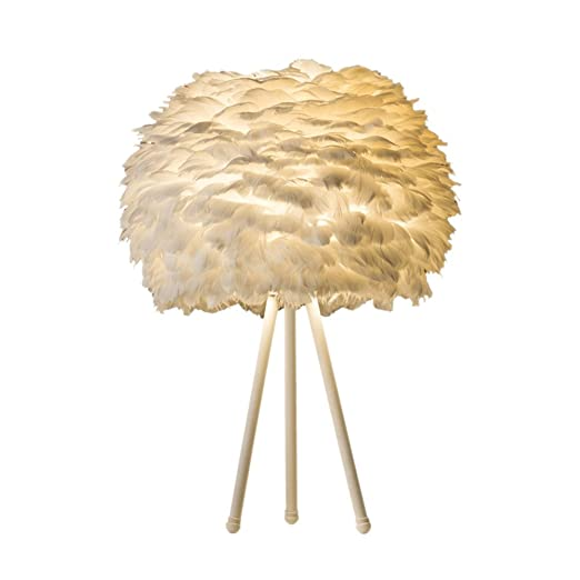 Lámpara de mesa,estilo nórdico de plumas blancas de ...
