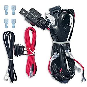 LED Light Bar Wiring Harness 12V 40 Amp Relay with Heavy Duty 16 Ga AWG Wire for Off Road / ATV Light Bars Up To 300W / 50 Inches On Off Switch