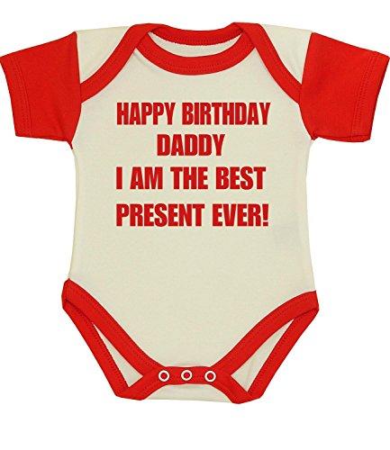 BabyPrem Baby Happy Birthday Daddy Best Present Clothes Bodysuit RED 0-3