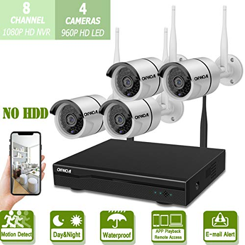 Cheap Wireless 8-Channel 1080P Security Camera System with 4pcs 960P Full HD Cameras,Home CCTV Surveillance System,Indoors&Outdoors IP Cameras+8CH House WiFi NVR Recorder,No Hard Disk Drive.