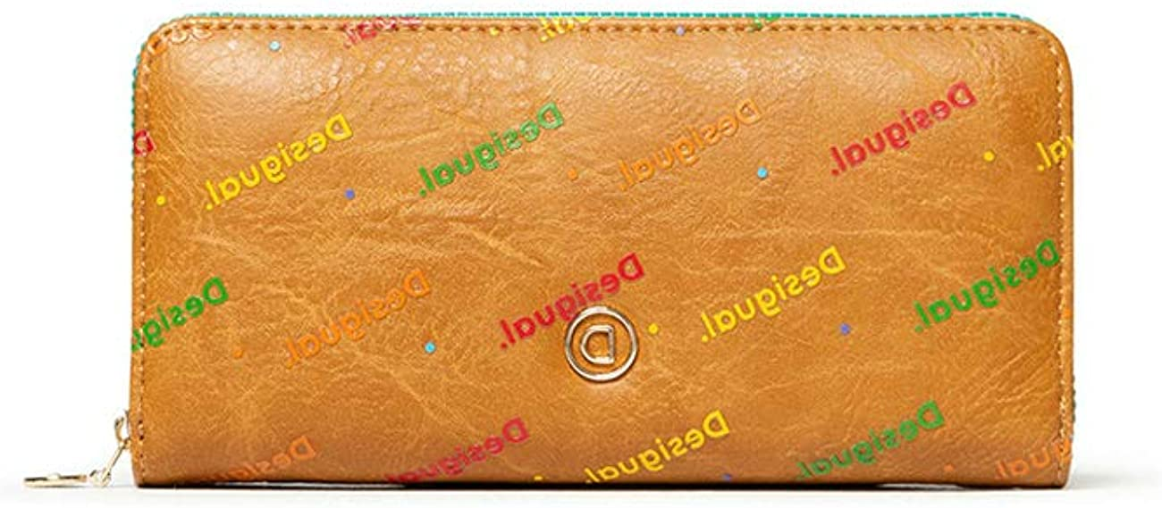 Desigual Mone_Intra Zip Around - Monedero para Mujer, 2 x 9,5 x 19 cm, Color Beige