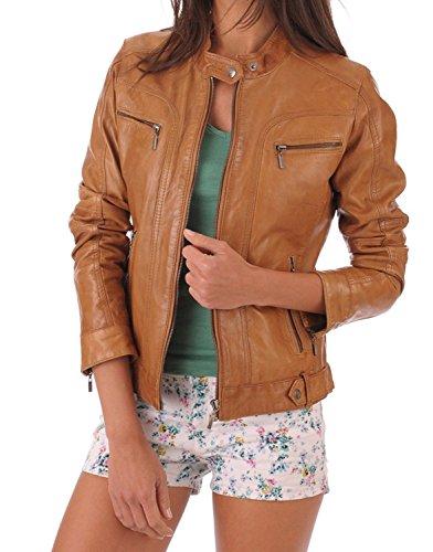Jacket Leather Camel - BENJER Skins Women's Lambskin Leather Bomber Motorcycle Jacket Small Camel_Beige