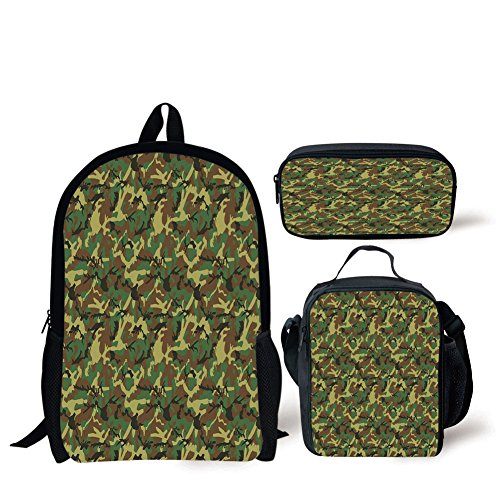 iPrint School Lunch Pen Bags,Camo,Woodland Camouflage Pattern Abstract Army Force Hiding in Jungle,Dark Green Light Green Brown,3 Piece Set ()