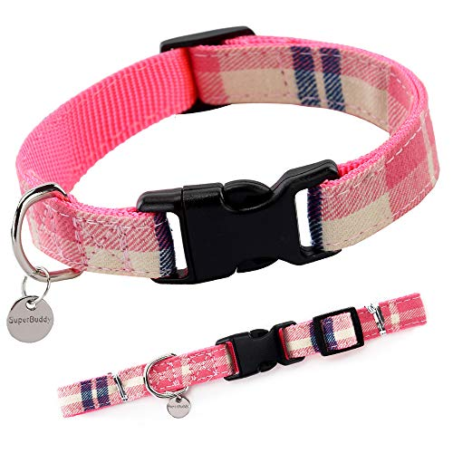 SuperBuddy Premium Plaid Dog Collar, Adjustable Dog Collars with Quick Release Buckle, Soft Comfortable Dog Collar for Small Medium Large Dogs