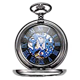 Treeweto Retro Mens Black Skeleton Mechanical Blue Roman Numerals Pocket Watch With Chain