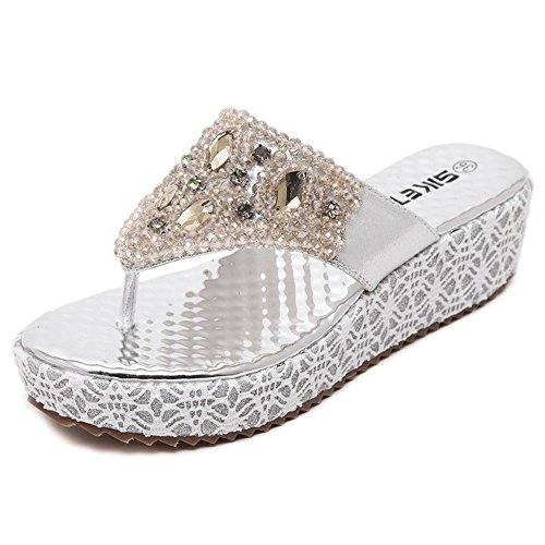 Slide Sandals Silver Wedge Btrada Cz Clip Beaded Womens Sandals Platform Toe FqfSWAwcP6