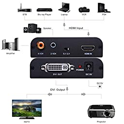 Tendak HDMI to DVI with audio HDMI to Coaxial HDMI to DVI-I Converter Adapter 1080P for HDTV HD Projector Apple TV Blu-Ray Player PS4