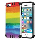 Capsule Case Compatible with iPhone 5, iPhone 5S, iPhone SE [Hybrid Dual Layer Slim Defender Armor Combat Case Black White] - (Pride Flag)