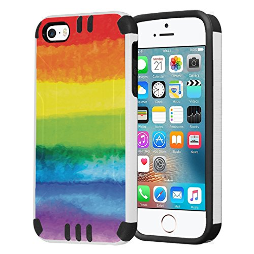 Capsule Case Compatible with iPhone 5, iPhone 5S, iPhone SE [Hybrid Dual Layer Slim Defender Armor Combat Case Black White] - (Pride Flag)