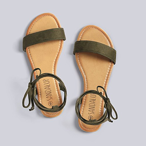 SANDALUP Sandals Strap Ankle Women Up Flat Brown for Tie raO6qr