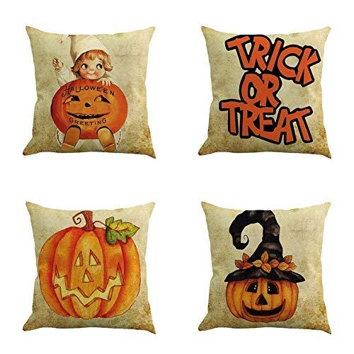 Zenfen 4 Piece Linen Throw Pillows Covers Cushion