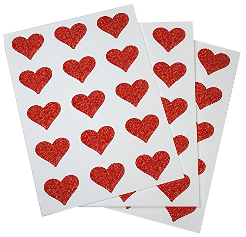 Red Heart Stickers Labels with Glitter Finish Perfect for Packaging and Sealing Party Favors, Bags and Gift Boxes 1.5