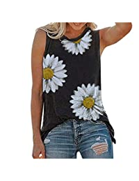 ZBYY Summer Sunflower Graphic Tank Tops for Women Cami Sleeveless T-Shirt Teen Girls Funny Tee Casual Shirt Blouse