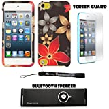 Fall Flowers 2 piece Cover Shield Protector Case For Apple iPod Touch 5 ( 5th Generation) 32GB, 64GB + Anti Glare Screen Protector Guard + Supertooth Disco Bluetooth Speaker with AUX Cable + an eBigValue Determination Hand Strap