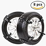 Car Universal Tire Safety Anti-Skid Chain Set of 8 Snow Tire Chain for,auto snow chains, Tire Width 165-265mm,Black