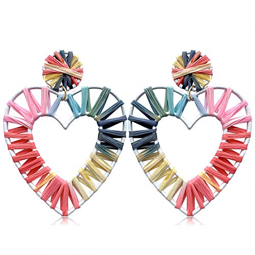 Heart Drop Earrings Jewelry (Statement Earrings Beaded Raffia Palm Bohemian Drop Dangle Earrings for women (G-H-2))