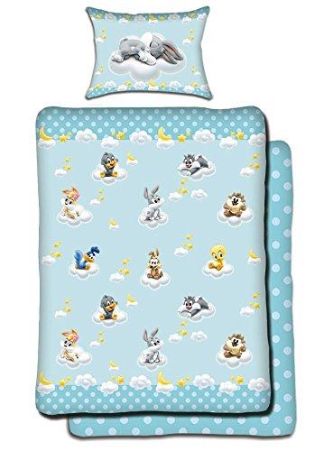 Looney Tunes Maxi& Mini Parure Linge DE Lit Housse DE Couette 100x135 + TAIE 40x60 IDEE DÉCO Bleu Chambre Enfant Warner Bros