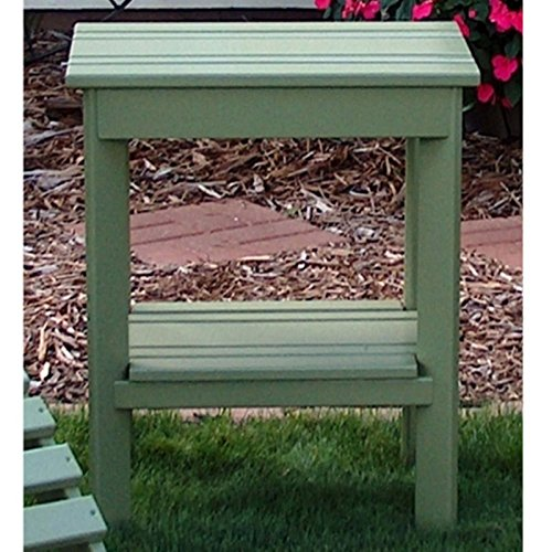 (Practical Cottage Adirondack Side Table with Alternating Thick and Thing Slats, Made of Aspen Wood, Great for Outdoor Relaxation and Leisure, Sage + Expert Home Guide by Love US)