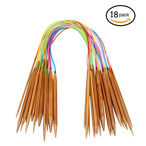 Youwen Circular Colorful Tube Bamboo Knitting Needles Set 18 Sizes 2 mm - 10 mm comparable to US sizes 24 inch Length
