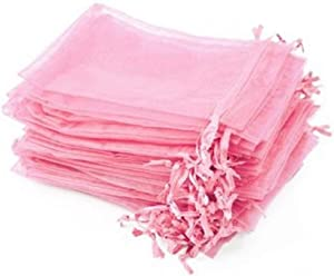 Yansanido 100 Pack (10cm x12 cm) Pink Organza Gift Bags Baby Shower Wedding Party Favor Bags Jewelry Pouches Wrap (Pink 4''x5'')