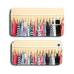 Colorful clothes on hangers in room cell phone cover case Samsung S6
