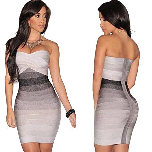 MAX Women Bandage Short Dresses Summer Casual Bodycon New Strapless Sleeveless Even (S, Gray) ()
