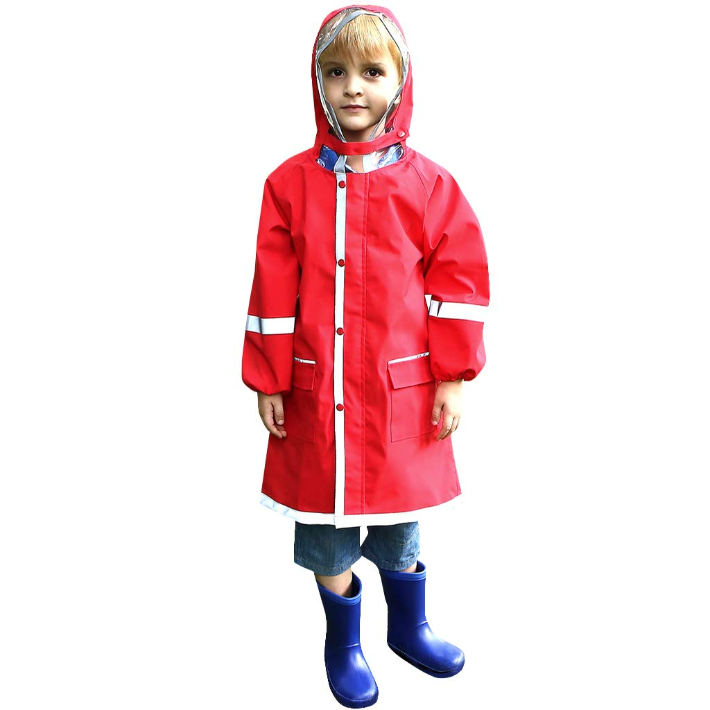 Zilee Kids Raincoat Poncho Waterproof Rain Jacket Hooded Rainwear Rain Cape School