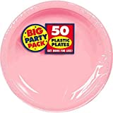 Amscan Big Party Pack 50 Count Plastic Lunch Plates, 10.25-Inch, New Pink