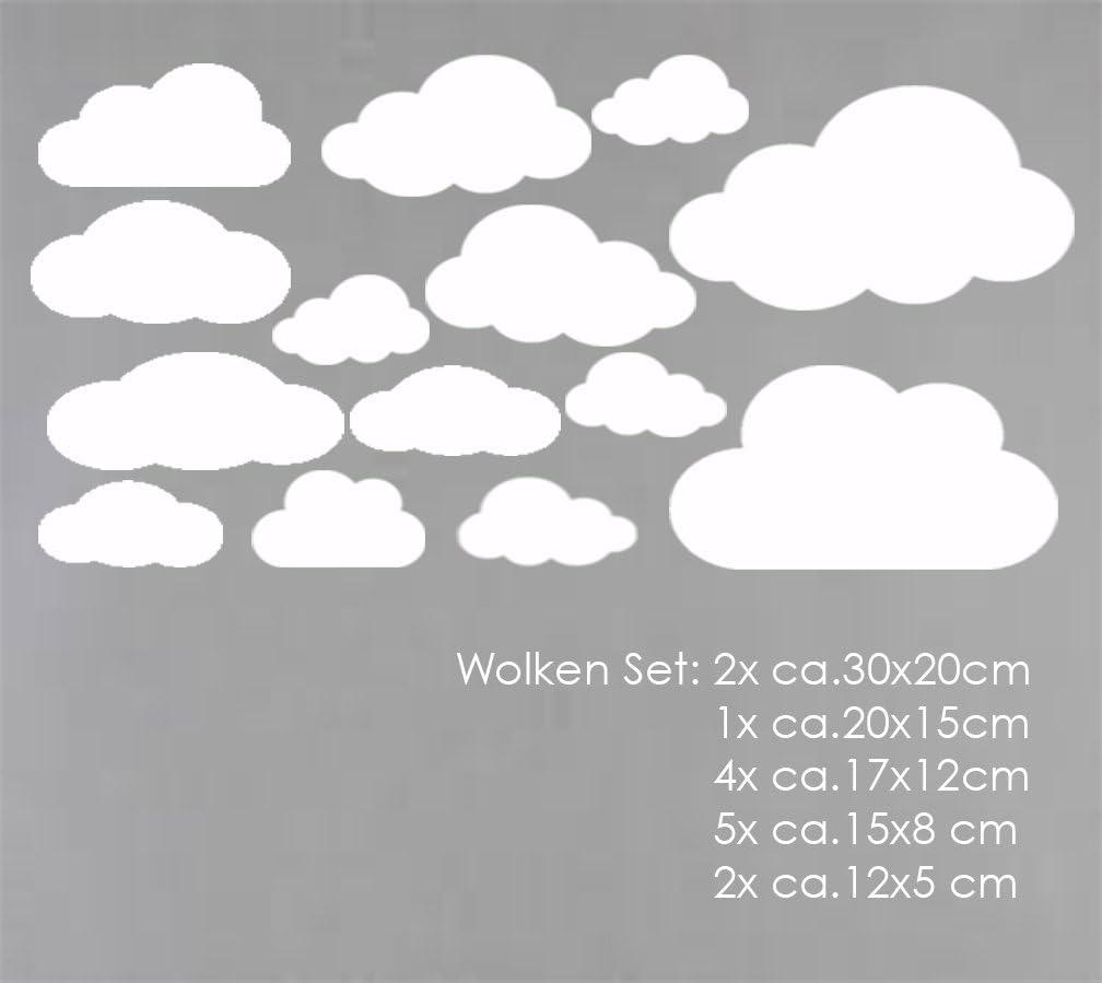 Wolkenset 16 Teilig, Fuchsia MacDecal.de Wolken Set 16x Wolke Wandtattoo Wandaufkleber Sticker Aufkleber Wand Himmel Baby