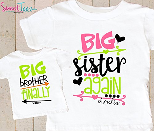 27a84bb99 Amazon.com: Big Sister Again Big Brother Finally Shirts Set Personalized  Pregnancy Announcement Shirts: Handmade