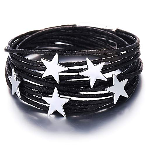 - FINETOO Black Star Wrap Bracelet Multi-Layer Leather Bracelet Wrap Cuff Bobo Bangle - with Alloy Magnetic Clasp Handmade Jewelry for Women,Girl Gift
