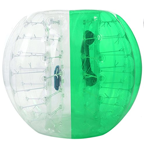 (Oanon Inflatable Bumper Ball 1.2M 4FT/1.5M 5FT Diameter Bubble Soccer Ball Blow Up Toy, Inflatable Bumper Bubble Balls for Childs,Teens,Adults (White/Green)