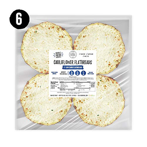 NEW Califlour Foods 5 Flatbreads (Classic, 24 Total) - Low Carb Cauliflower-Based Flatbreads (Only 2g Net Carbs Per Serving) - Grain Free, Gluten Free, Guilt Free, Keto