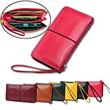 Yilen Women Soft Leather Zipper Around Clutch Long Wallet Evening Purse iPhone 6 Plus 5.5 inch Card Case Handbag with Wrist Strap(Rose)