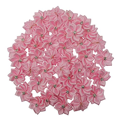 - Tianying 40 Pack Satin Ribbon Flowers Bows 1.1in Rhinestones Party Weddng Supply Home Decor DIY Craft (Pink)