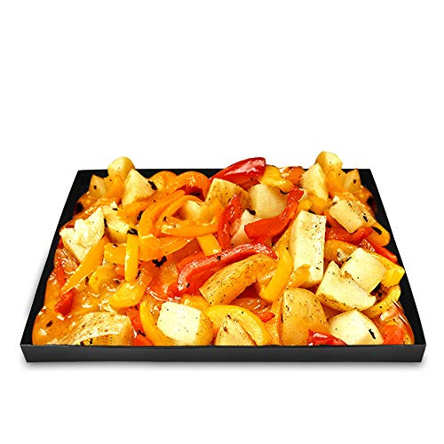 Barbecue Magus Vegetable Grill Basket Non Stick Grilling Basket Stir Fry for Fish, Seafood, Kabob, Pizza, Veggies & Fruit,Use as Grill Tray, Baking Pan - Perfect for Large Grills or Oven