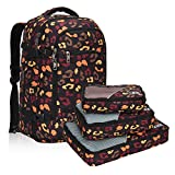 Hynes Eagle Travel Backpack 40L Flight Approved Carry on Backpack, Orange Camo with 3PCS Packing Cubes