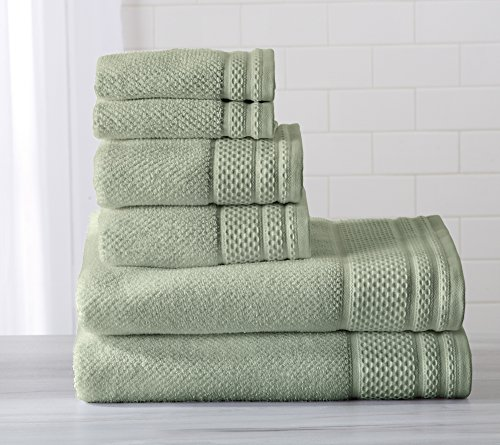 6-Piece Luxury Hotel / Spa 100% Turkish Cotton Towel Set, 600 GSM. Includes Bath Towels, Hand Towels and Washcloths. Helena Collection By Great Bay Home Brand. (Seafoam Green)