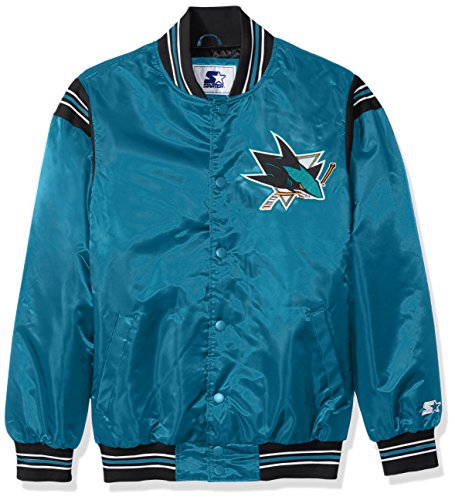 NHL San Jose Sharks Men's The Enforcer Satin Jacket, X-Large, Teal (Nba Starter)