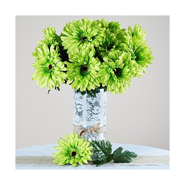 BalsaCircle 28 Lime Green Silk Gerbera Daisy Flowers – 4 Bushes – Artificial Flowers Wedding Party Centerpieces Bouquets Supplies
