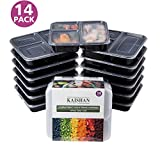 3 Compartment Meal Prep Containers Leak Proof BPA Free Microwavable Reusable Stackable, 14 Pack, 36-Ounce by KAISHAN