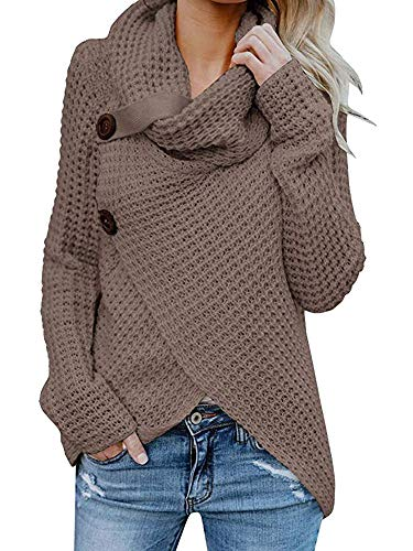 Inorin Womens Turtleneck Sweater Warm Cable Knitted Loose Button Wrap Asymmetrical Pullover Tops ()