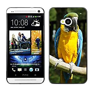Etui Housse Coque de Protection Cover Rigide pour // M00115234 Ara Loro Pájaro amarillo de mama // HTC One M7