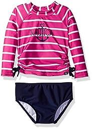 Nautica Baby Girls\' Long Sleeve Rashguard Set with Stripe Top and Solid Bikini Bottom, Medium Pink, 18 Months