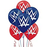 """Amscan Grand Slammin WWE Printed Birthday Party Latex Balloons Decoration (6 Pack), 12"""", Red/Blue"""
