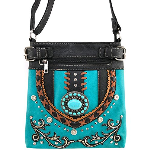 Justin West Tooled Gleaming Turquoise Stone Floral Laser Cut Rhinestone Messenger Bag Purse with Long Cross Body Strap (Black Turquoise)