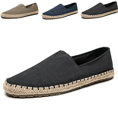 CASMAG Men's Casual Cloth Shoes Canvas Slip-on Loafers Outdoor Leisure Walking Black 11.5 M US