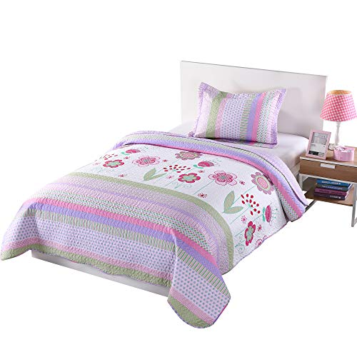 MarCielo 2 Piece Kids Bedspread Quilts Set Throw Blanket for Teens Girls Bed Printed Bedding Coverlet, Twin Size, Purple Floral Striped (Twin) (Childrens Quilts Bedding)