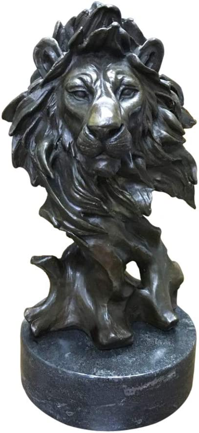 Amazon Com 13 Bronze Lion Head Statue Figurine Wild Animal Sculpture Art Indoor Home Decor Home Kitchen